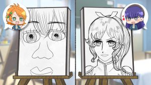 クラスメイトの似顔絵を描く